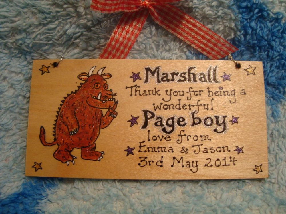 Gruffalo PAGEBOY RINGBEARER USHER BEST MAN WEDDING FAVOUR KEEPSAKE THANK YOU SIGN PERSONALISED Handmade Each One Unique OOAK